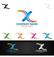 letter x for digital logo marketing financial vector image vector image