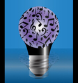 Light bulb covered with music notes vector image vector image