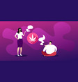 man woman smoking marijuana joint drugs vector image