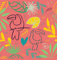 pink jungle tucan seamless pattern background vector image vector image