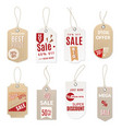 realistic price tag 3d sale paper hang and retail vector image vector image