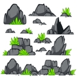 Rock stone cartoon flat style Set of different vector image vector image