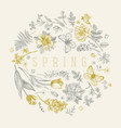 round floral frame with butterflies vector image vector image