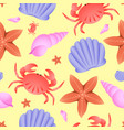 seamless sea theme pattern crab fish star and vector image vector image