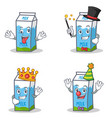 set of milk box character with crazy magician king vector image vector image