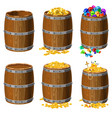 set of wooden barrels with treasures gold coins vector image