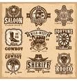 set wild west logos vector image