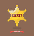 sheriff badge in flat style vector image vector image