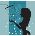 Silhouette of beautiful girl taking a shower vector image