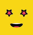 star eyes funny emotion emoji smile face vector image