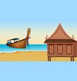 thai house next to the beach vector image