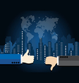 Thumb up and thumb down on city landscape vector image vector image