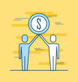 two people business holding coin money dollar vector image vector image