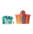 urban retro building cartoon set vector image vector image