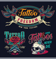 vintage tattoo salon colorful prints vector image vector image