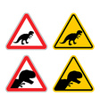 Warning sign of attention dinosaur Dangers yellow vector image vector image