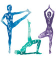 watercolor silhouettes woman doing yoga vector image