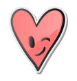 winking heart sticker emoji smiling face emoticon vector image