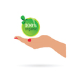 woman hand holdin organic sign vector image vector image