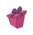 color gift box ribbon sketch vector image