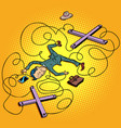 business concept businessman puppet fell without a vector image