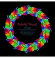 Colorful wreath of rainbow feathers vector image