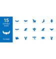 15 flying icons vector image vector image