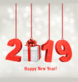 2019 new years background with gift vector image vector image