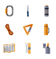 adventure equipment icon set cartoon style vector image vector image