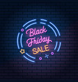black friday sale glowing neon sign on dark brick vector image