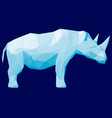 blue polygonal rhino 3d side view vector image vector image