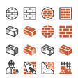 brick icon set vector image vector image