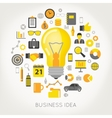 Business Idea Light Bulb and Creative Icons vector image vector image