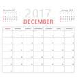 calendar planner 2017 december week starts sunday vector image vector image