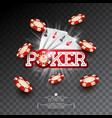 casino with poker card and falling vector image vector image
