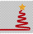 christmas tree of red ribbon and star vector image vector image