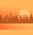 city sunrise contour skyscrapers panorama of vector image vector image