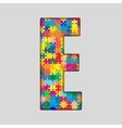 Color Puzzle Piece Jigsaw Letter - E vector image vector image
