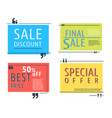 colored sale square template vector image