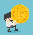 concept businessman carrying huge bitcoins vector image vector image