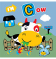 cow and best friends funny animal cartoon vector image