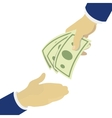 Creative hand holding green banknotes vector image vector image