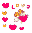 Cupid for Valentines Day with hearts vector image vector image