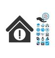 Danger Building Flat Icon With Bonus vector image vector image