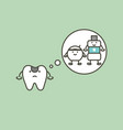 decay tooth thinking of mouthwash and floss vector image vector image