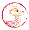 drawing red chinese dragon symbol vector image vector image
