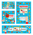 fast food delivery and online order vector image vector image
