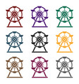 ferris wheel icon in black style isolated on white vector image vector image
