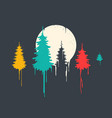 fir forest painting style vector image