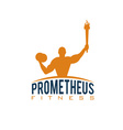 fitness prometheus with man holding a torch vector image vector image